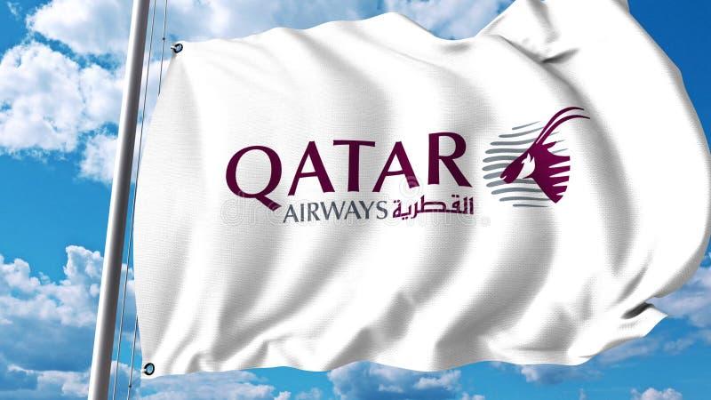 Drapeau de ondulation avec le logo de Qatar Airways rendu 3d illustration libre de droits