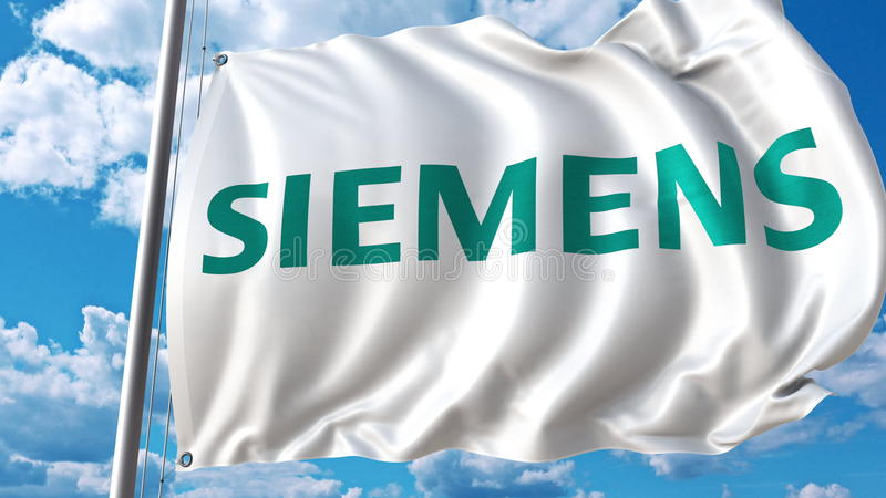 Drapeau de ondulation avec le logo de Siemens contre le ciel et les nuages Rendu 3D éditorial illustration stock