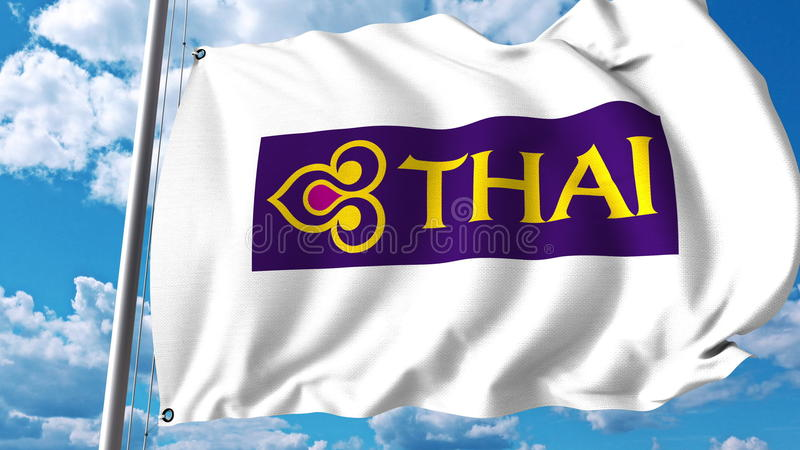 Drapeau de ondulation avec le logo de Thai Airways rendu 3d illustration libre de droits