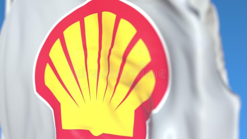 Drapeau de ondulation avec le logo de PLC de Royal Dutch Shell, plan rapproché Rendu 3D ?ditorial illustration stock