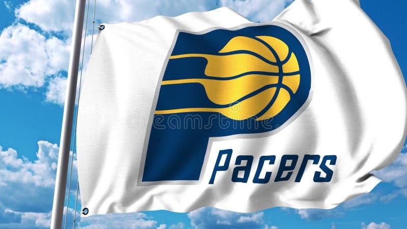 Drapeau de ondulation avec le logo professionnel d'équipe d'Indiana Pacers Rendu 3D éditorial illustration libre de droits