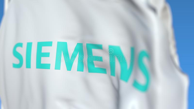Drapeau de ondulation avec le logo de Siemens Ag, plan rapproché Rendu 3D ?ditorial illustration libre de droits