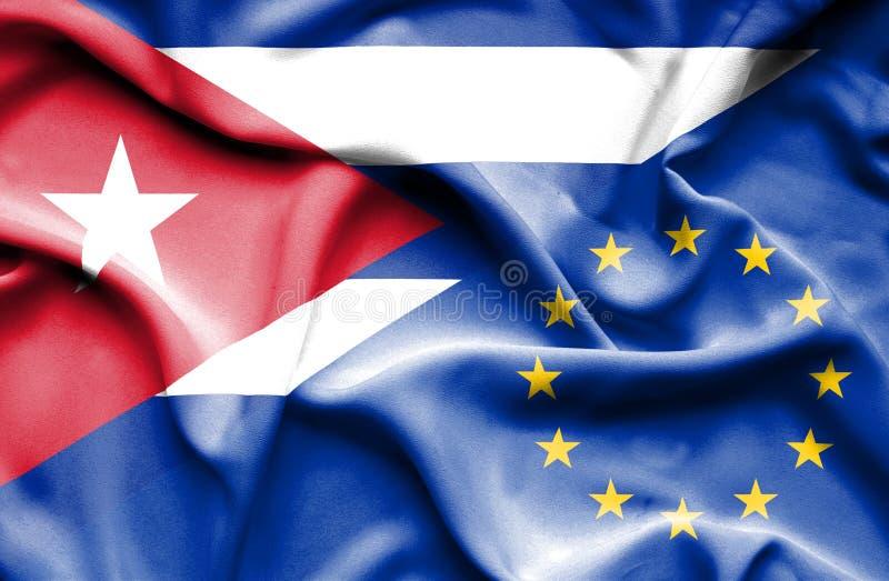 Drapeau de ondulation d'Union européenne et du Cuba illustration libre de droits