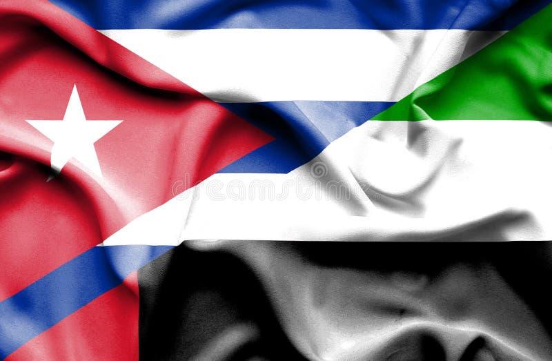Drapeau de ondulation des Emirats Arabes Unis et du Cuba illustration libre de droits
