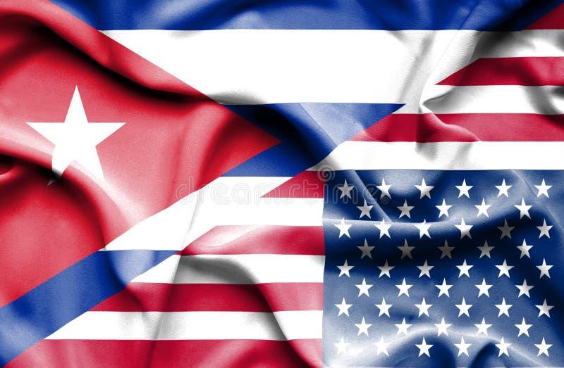 Drapeau de ondulation des Etats-Unis d'Amérique et du Cuba illustration libre de droits
