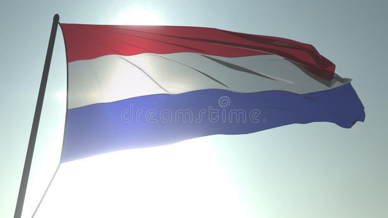 Drapeau de ondulation des Pays-Bas contre le soleil et le ciel brillants Rendu 3D loopable réaliste illustration libre de droits