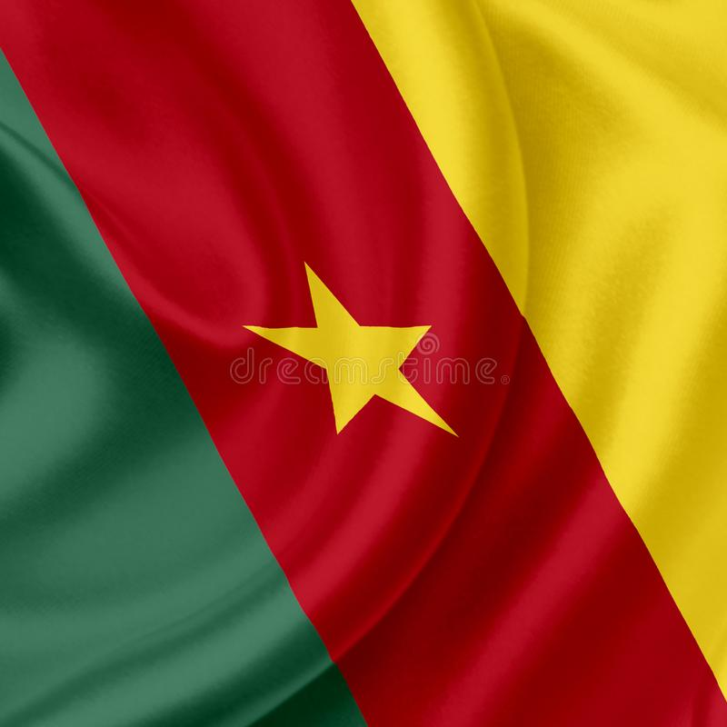Drapeau de ondulation du Cameroun illustration stock