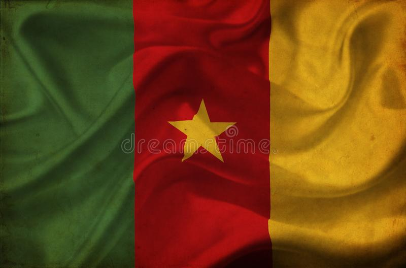 Drapeau de ondulation du Cameroun illustration libre de droits