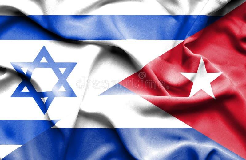 Drapeau de ondulation du Cuba et de l'Israël illustration de vecteur