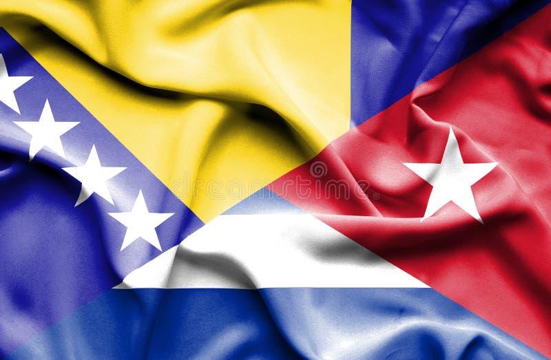 Drapeau de ondulation du Cuba et de la Bosnie-Herzégovine illustration stock