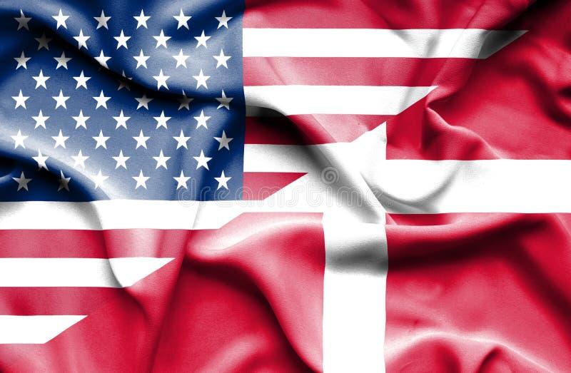 Drapeau de ondulation du Danemark et des Etats-Unis illustration stock