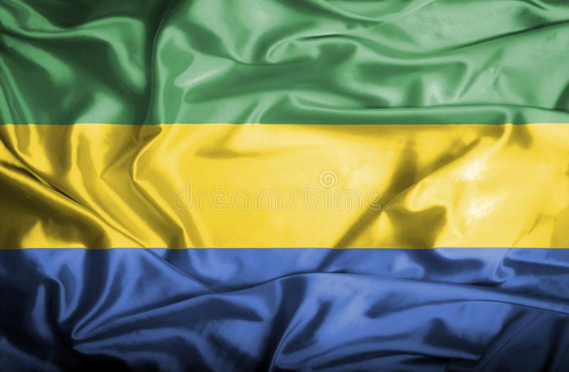 Drapeau de ondulation du Gabon illustration stock