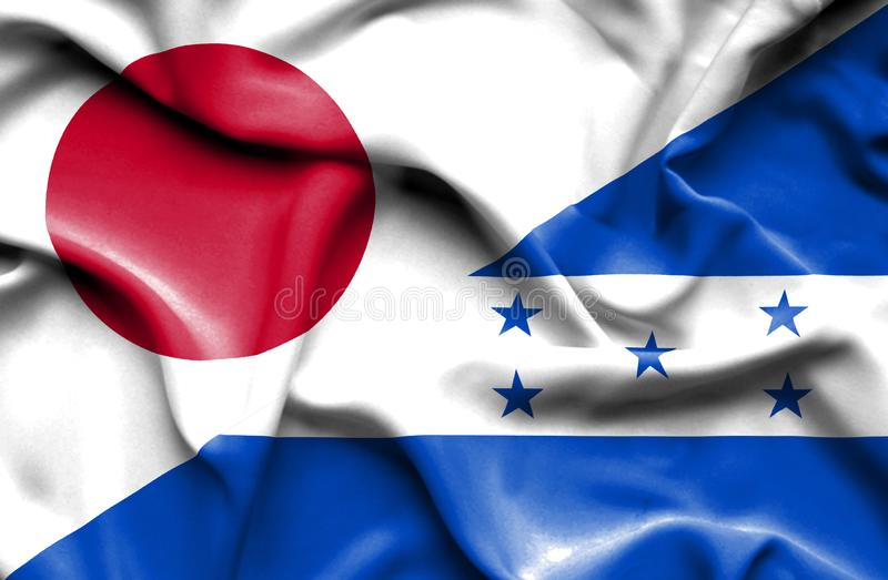 Drapeau de ondulation du Honduras et du Japon illustration de vecteur