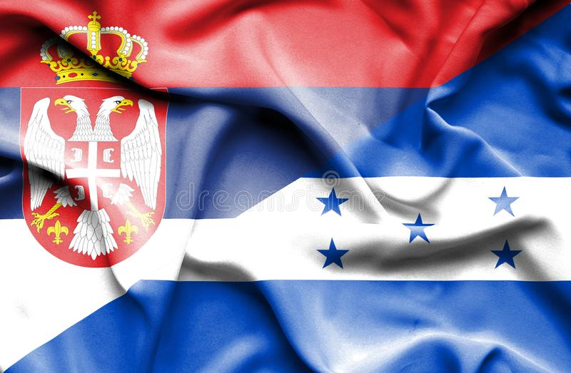 Drapeau de ondulation du Honduras et de la Serbie illustration stock