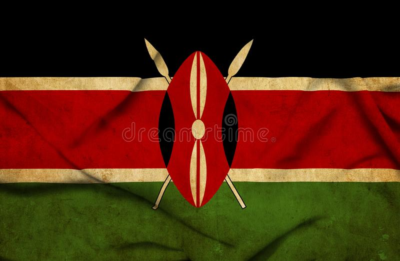 Drapeau de ondulation du Kenya illustration de vecteur