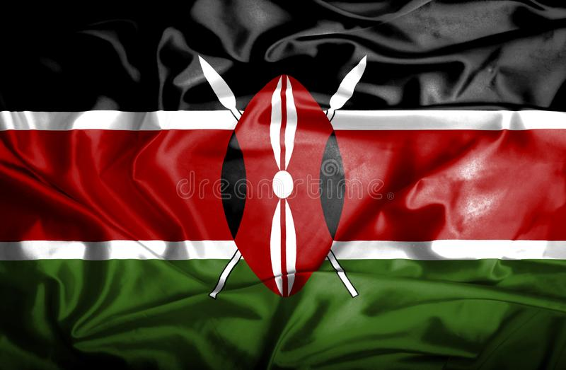 Drapeau de ondulation du Kenya illustration stock