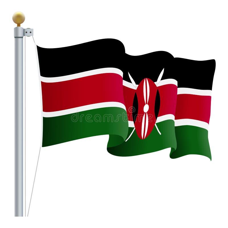 Drapeau de ondulation du Kenya d'isolement sur un fond blanc Illustration de vecteur illustration libre de droits