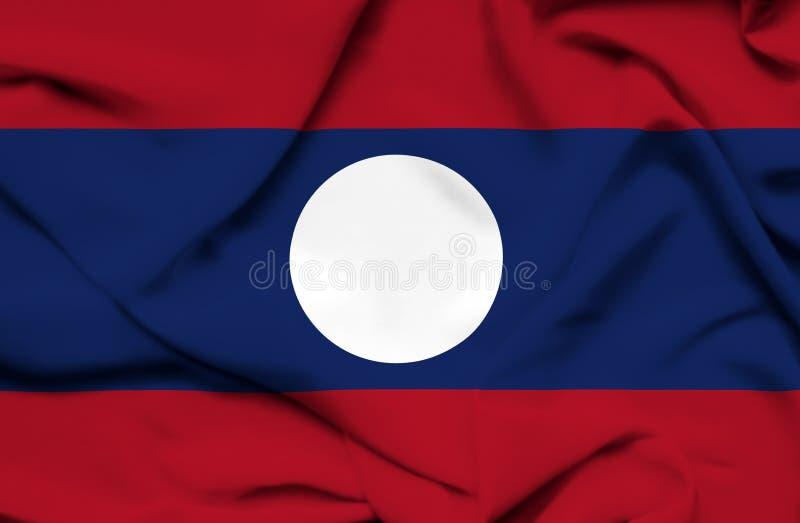Drapeau de ondulation du Laos illustration de vecteur
