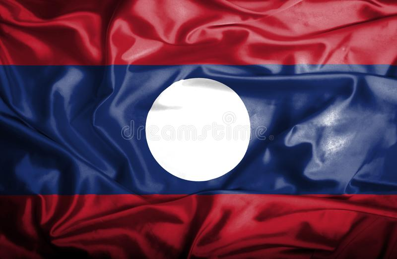 Drapeau de ondulation du Laos illustration libre de droits