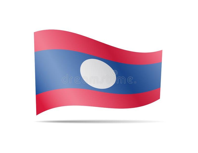 Drapeau de ondulation du Laos dans le vent Drapeau sur l'illustration blanche de vecteur illustration stock
