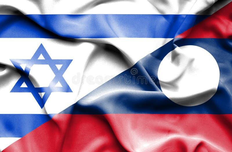 Drapeau de ondulation du Laos et de l'Israël illustration de vecteur
