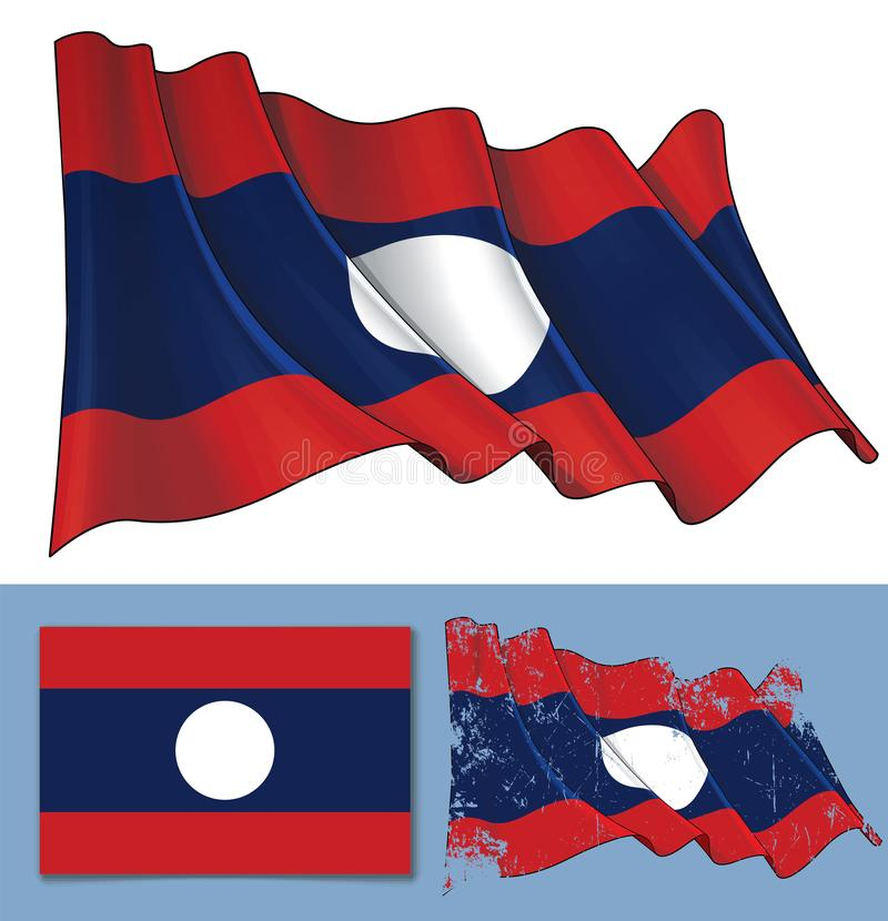 Drapeau de ondulation du Laos illustration stock