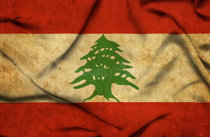 Drapeau de ondulation du Liban illustration stock
