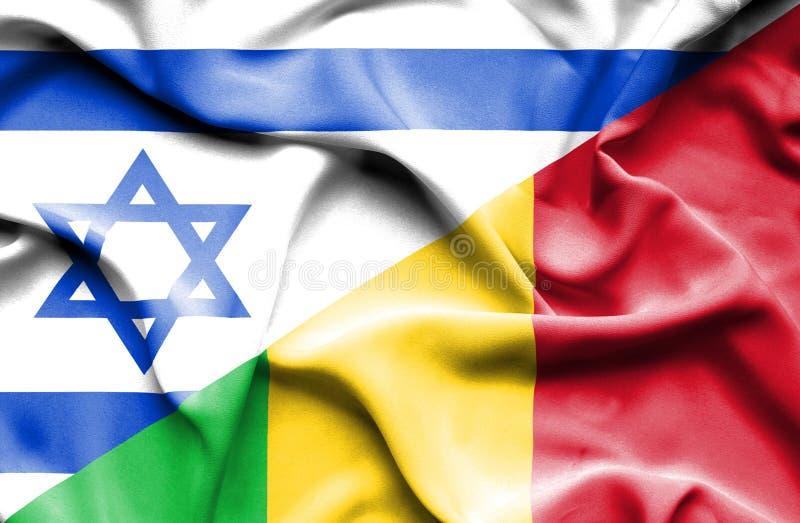 Drapeau de ondulation du Mali et de l'Israël illustration de vecteur