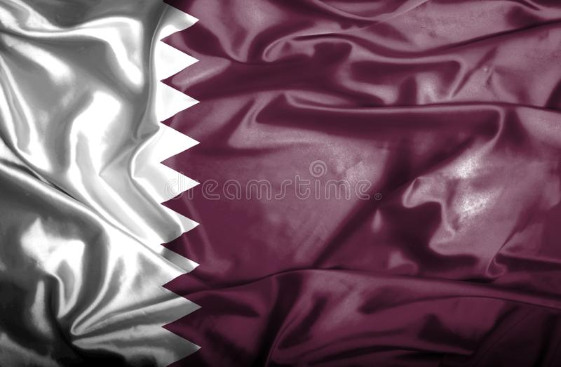 Drapeau de ondulation du Qatar illustration stock