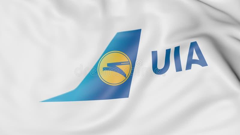Drapeau de ondulation du rendu 3D éditorial d'Ukraine International Airlines illustration libre de droits