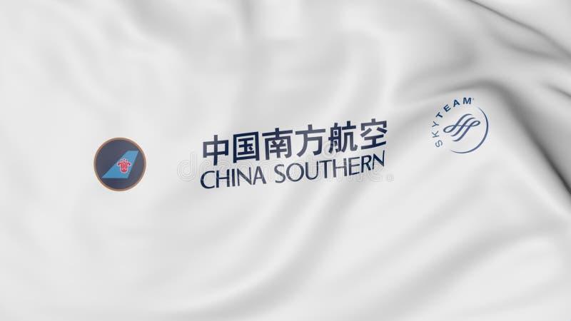 Drapeau de ondulation du rendu 3D éditorial de China Southern Airlines illustration de vecteur