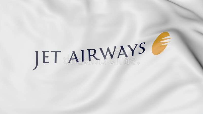 Drapeau de ondulation du rendu 3D éditorial de Jet Airways illustration stock