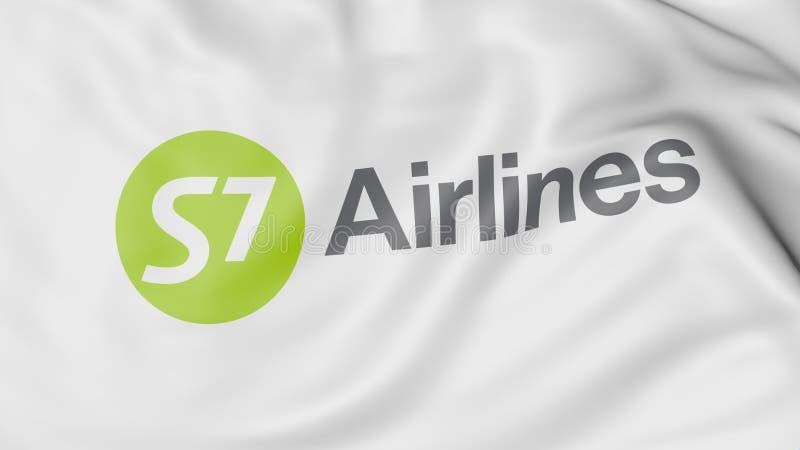 Drapeau de ondulation du rendu 3D éditorial de S7 Airlines illustration stock