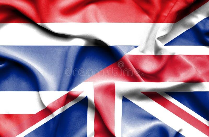 Drapeau de ondulation du Royaume-Uni et de la Thaïlande illustration stock