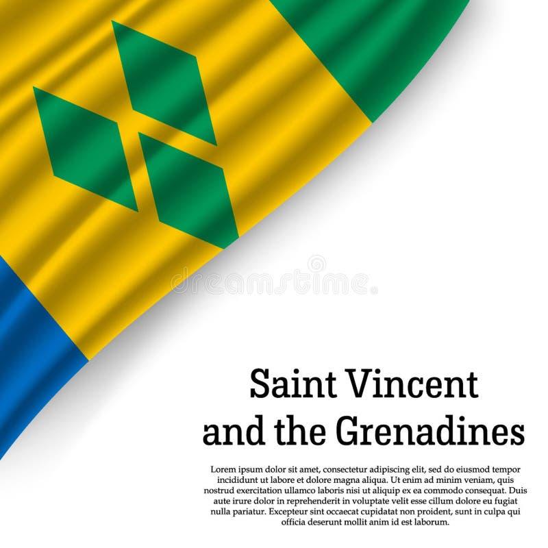 Drapeau de ondulation du Saint-Vincent-et-les Grenadines illustration stock