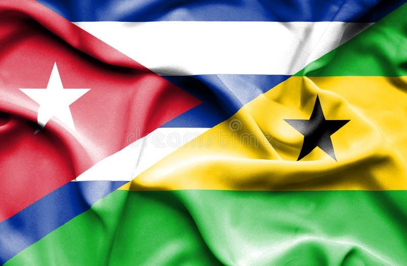 Drapeau de ondulation du Sao-Tomé-et-Principe et du Cuba illustration stock