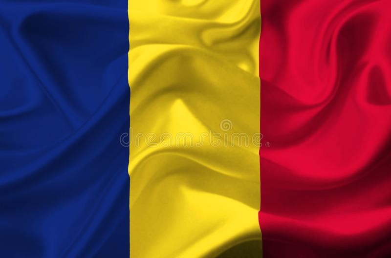 Drapeau de ondulation du Tchad illustration stock