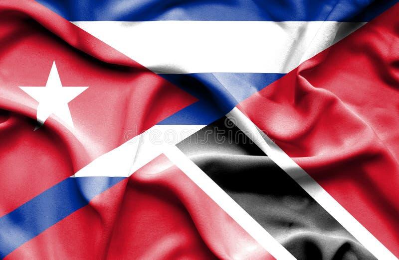 Drapeau de ondulation du Trinidad-et-Tobago et du Cuba illustration stock