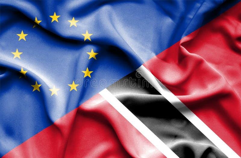 Drapeau de ondulation du Trinidad-et-Tobago et d'UE image libre de droits