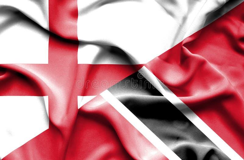 Drapeau de ondulation du Trinidad-et-Tobago et de l'Angleterre photo stock