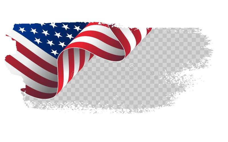 Drapeau de ondulation Etats-Unis d'Amérique drapeau américain onduleux d'illustration pour le fond de course de brosse de Jour de illustration de vecteur