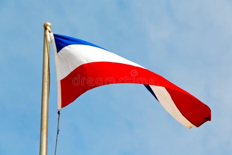 drapeau de ondulation français dans les Frances de ciel bleu images libres de droits