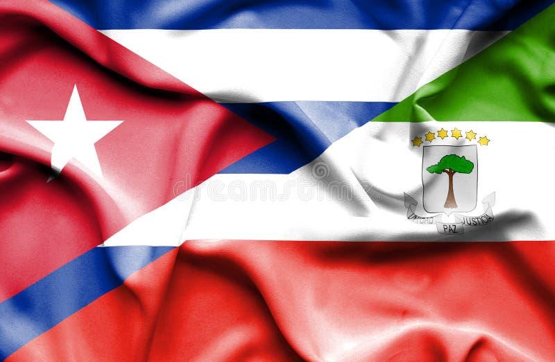 Drapeau de ondulation de Giuinea équatorial et du Cuba illustration stock