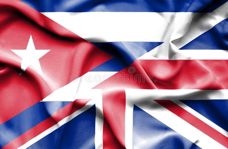 Drapeau de ondulation de Kingdon uni et du Cuba illustration stock