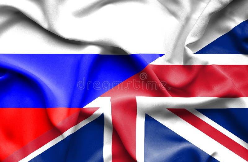 Drapeau de ondulation de Kingdon uni et de la Russie illustration de vecteur