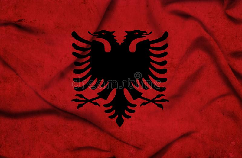 Drapeau de ondulation de l'Albanie illustration libre de droits