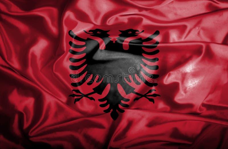 Drapeau de ondulation de l'Albanie illustration de vecteur