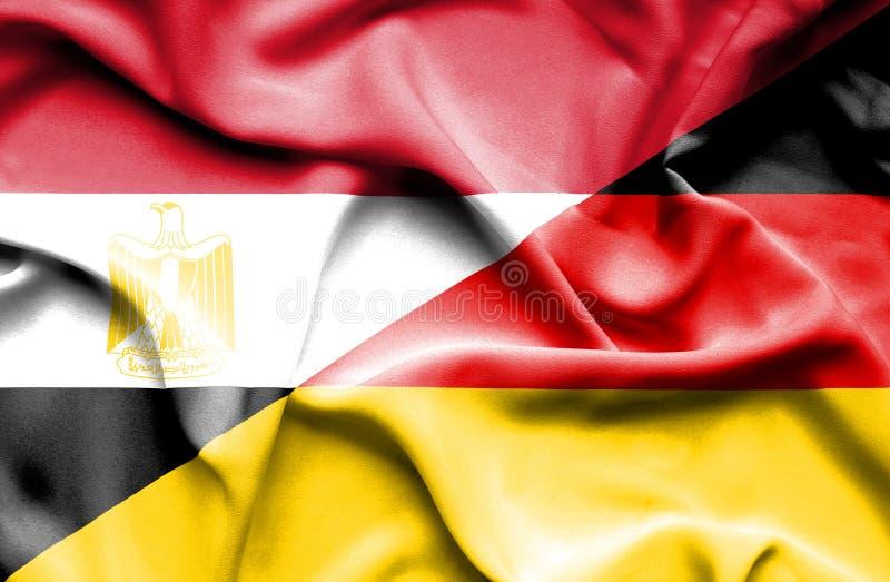 Drapeau de ondulation de l'Allemagne et de l'Egypte photo libre de droits