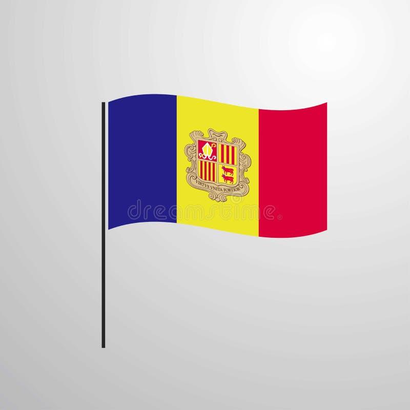 Drapeau de ondulation de l'Andorre illustration libre de droits