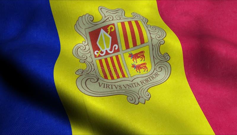 Drapeau de ondulation de l'Andorre dans 3D illustration de vecteur